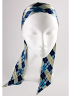 Blue Plaid Scarf Headband